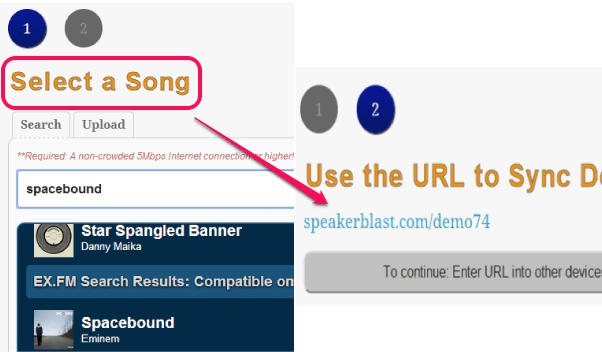 select a song to generate blast url