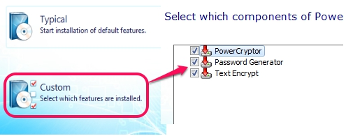 select components to install with PowerCryptor Free Edition