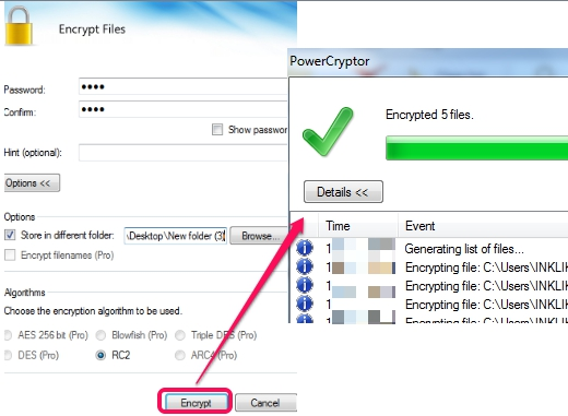 select destination location and encrypt files