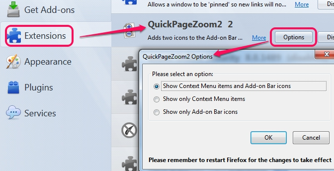 show hide context menu items and add-on bar icons