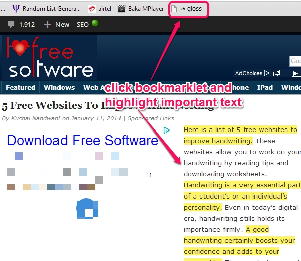 use bookmarklet to highlight text