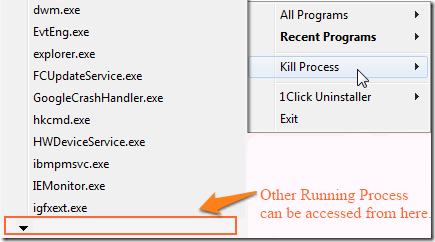 1 Click Uninstaller-Kill Process