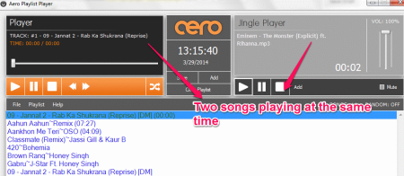 Aero Player two songs played at the same time