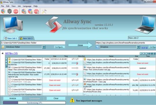 Allway Sync- interface