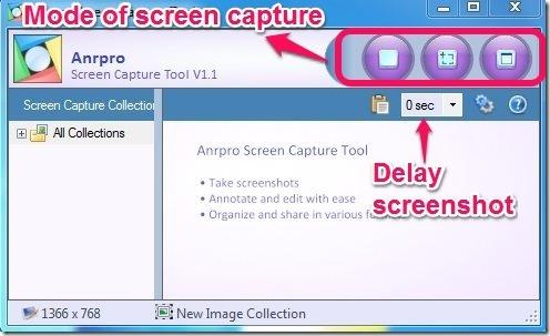 Anrpro Screen Capture Tool- screen capture mode & delay time
