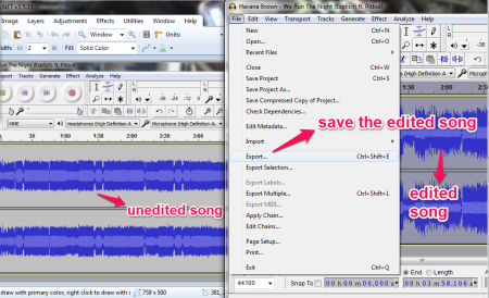 Audacity karaoke making and saving