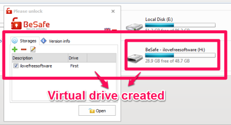 Besafe-Virtual-drive-Created-password protected virtual drive