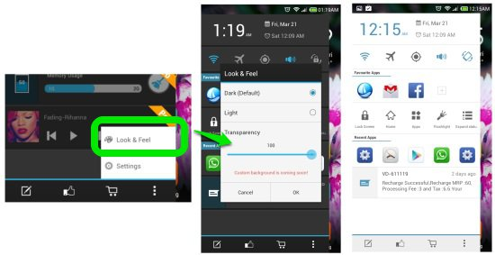 Changing  theme sidebar launcher for android