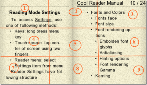Cool Reader-Tap Zones Explained