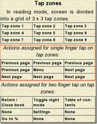 Cool Reader-Tap Zones