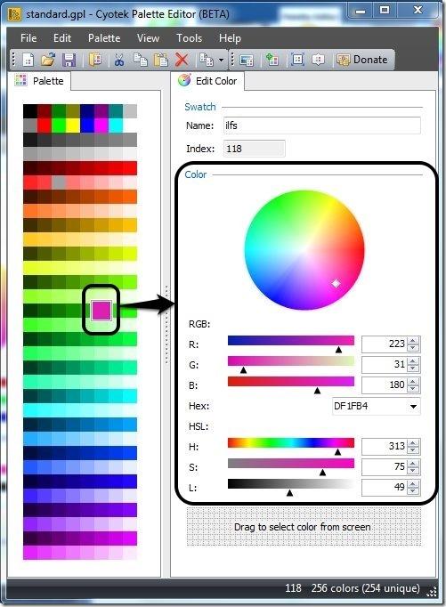 Cyotek Palette Editor-create color palette