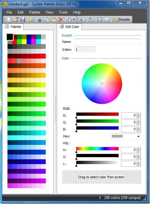 Cyotek Palette Editor-main interface