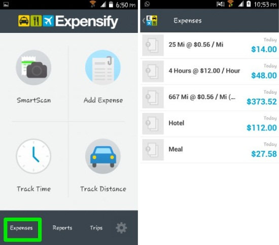 Expensify for Android calculate expenses