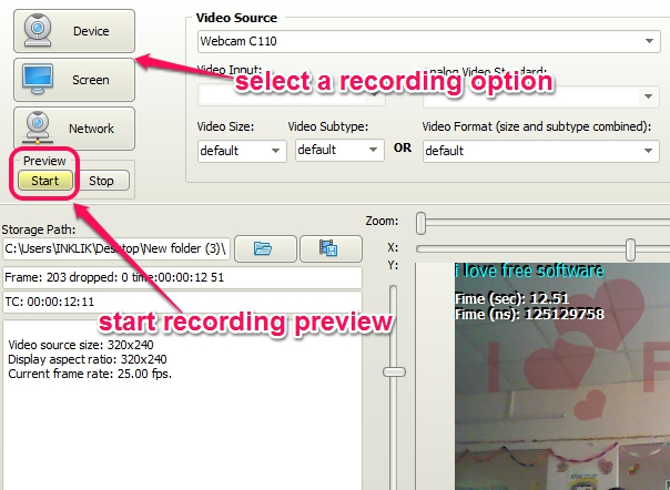 Free Screencast- set recording device