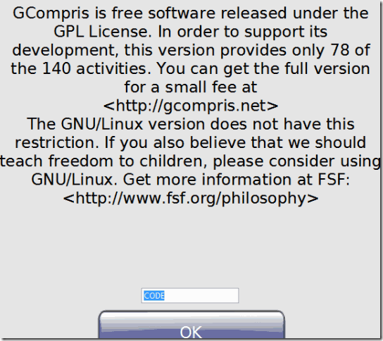 GCompris-Limitation