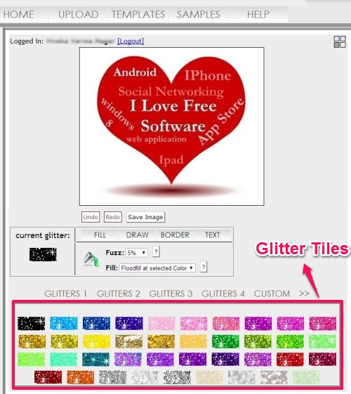 Free Website To Add Glitter Effect to Images, Create Glitter