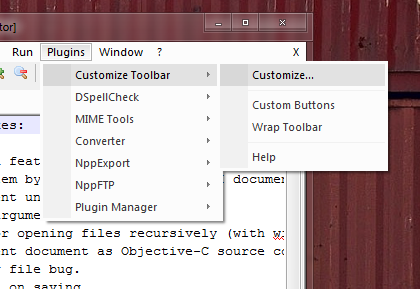 How to customize the toolbar with Customize Toolbar for Notepad++