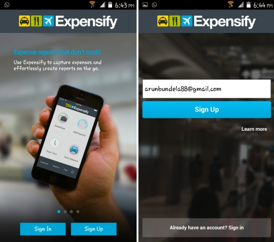 How to get started with Expensify for Android Installation and signup