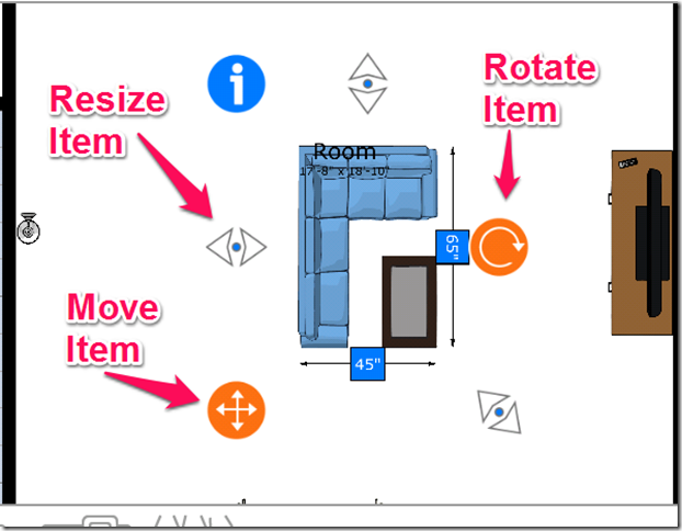 Adjust Items In Room Planner App