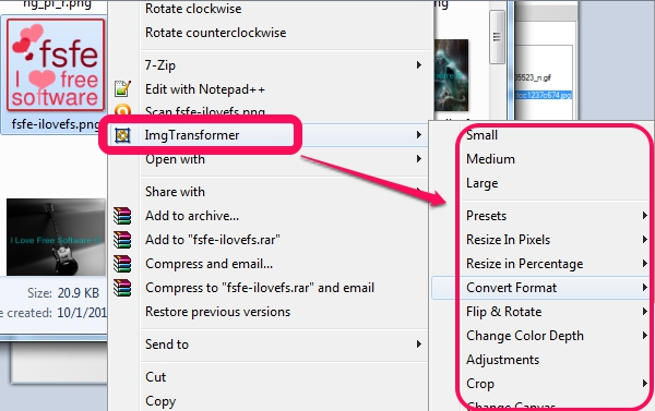 ImgTransformer- context menu integration