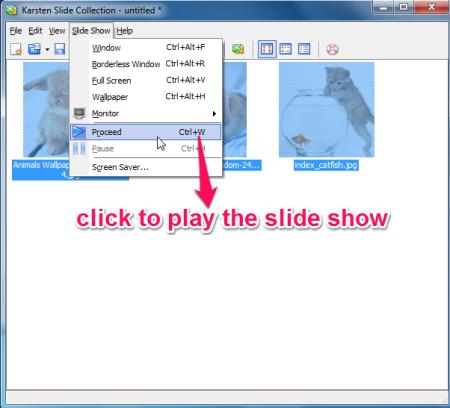 Karsten slide show playing option