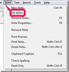 KeyNote NF setting alarm