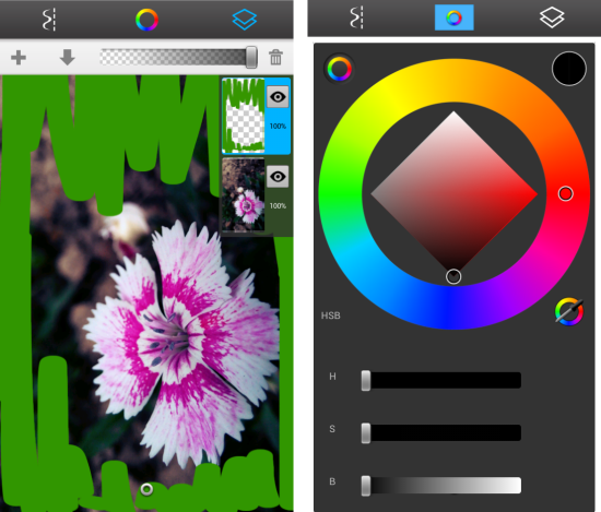 Layers and colors in free drawing app for android