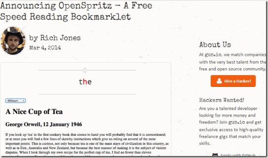 OpenSpritz-Homescreen