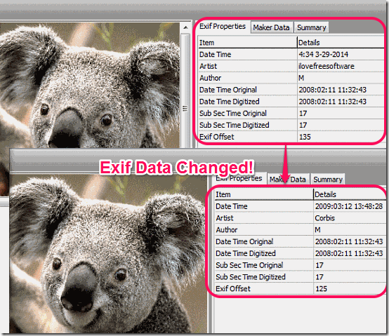 Photo Data Explorer Exif Attributes Chaned