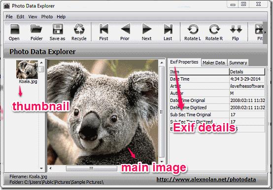 Photo data explorer main interface