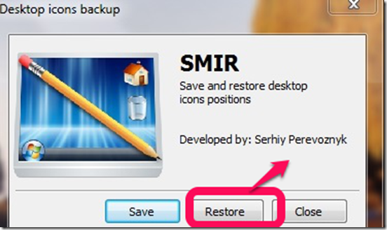 Smir restoring icons position