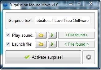 Surprise on Mouse Move- main interface