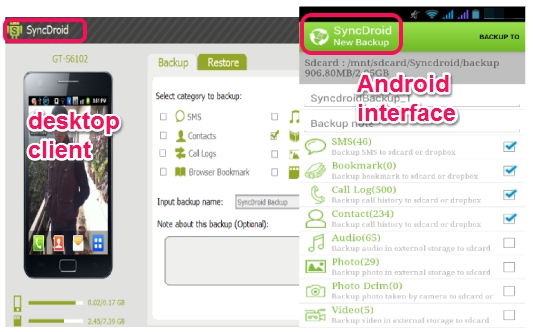 SyncDroid- Backup Android Phone to PC or SD card