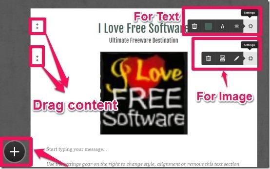 Tackk-settings options, add content