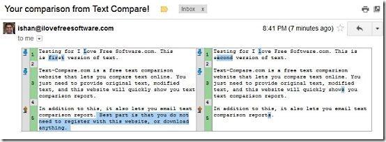 Text Comparison Email