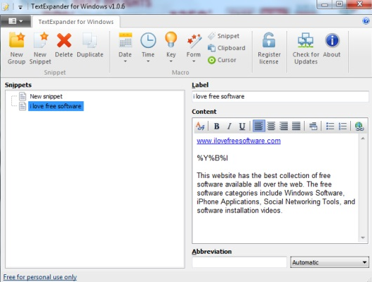 TextExpander for Windows- interface