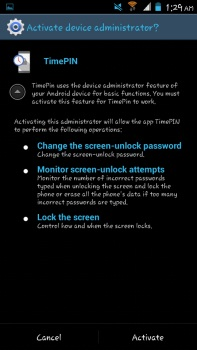 TimePIN For Android activate as device administrator