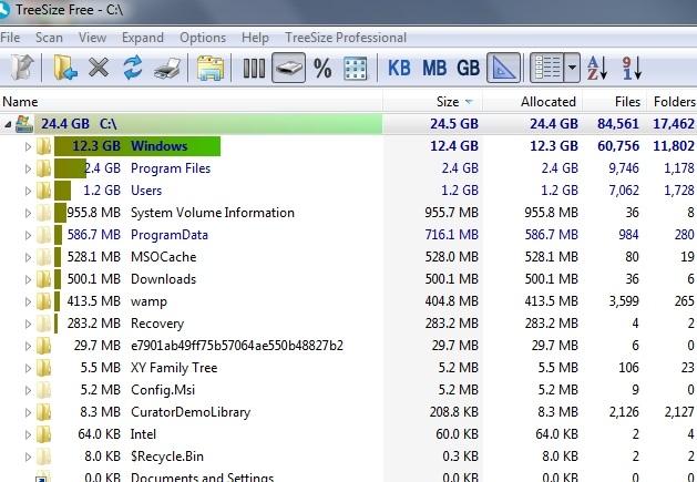 TreeSize Free main interface