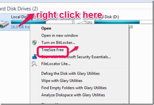 Treesize Free right click context menu integration