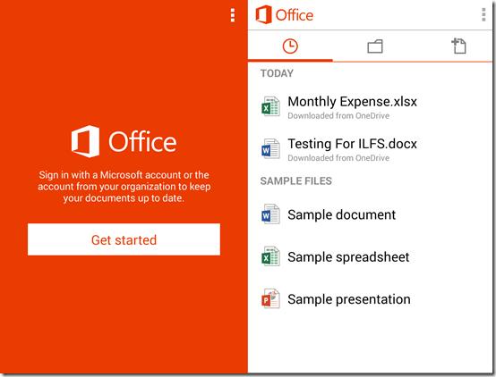 Microsoft Office Mobile Home Screen