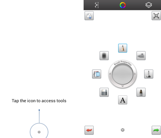 Using the interface and tools of SketchBook Mobile Express