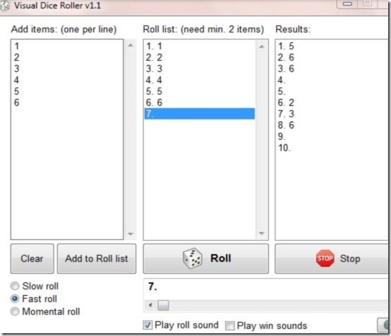 Visual Dice Roller user interface