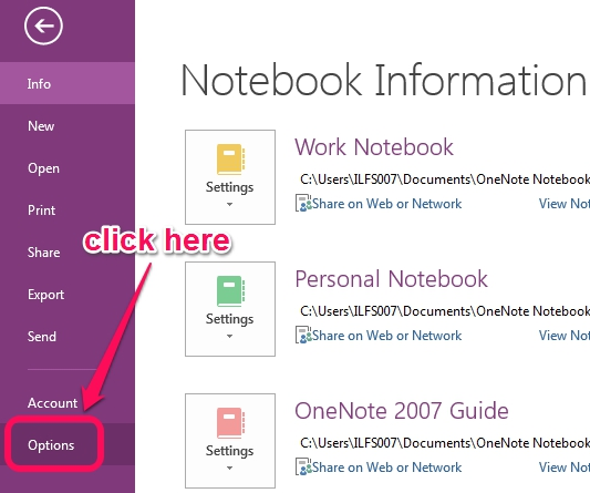 access OneNote Options