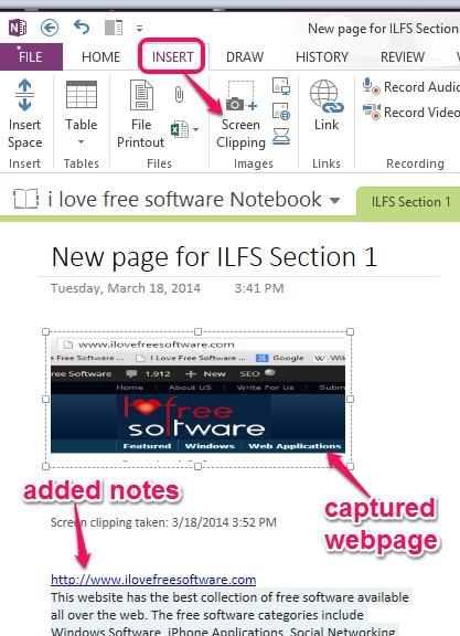 add notes to section page