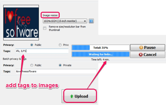 add tags to images and upload