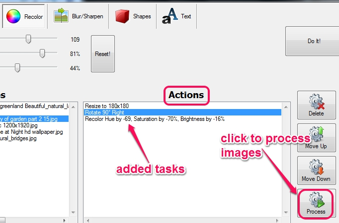 add tasks to task list and process images