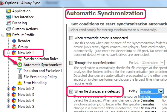 automatic sync for a job