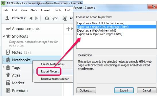 backup Evernote notebooks
