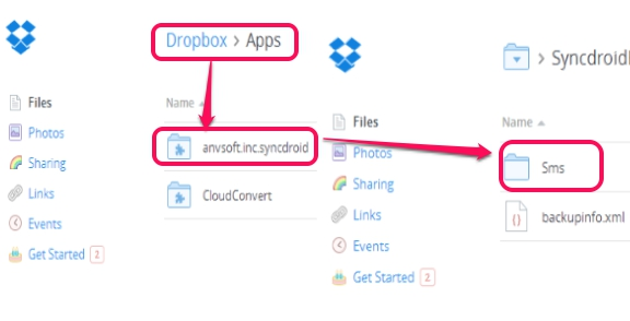backup items to Dropbox