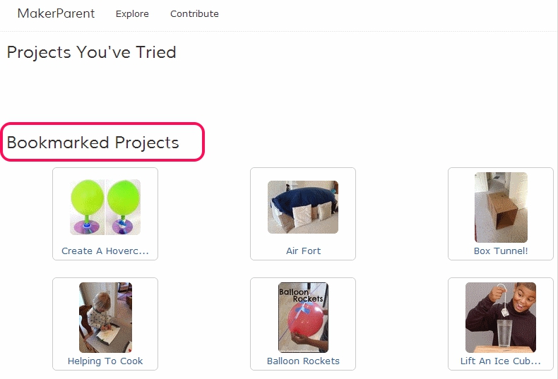 bookmarked projects